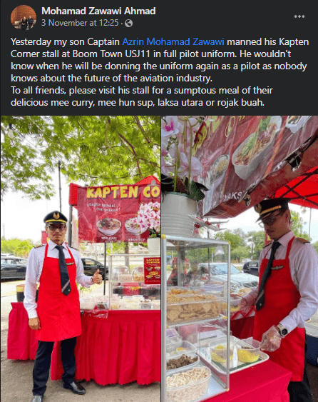M'sian Pilot Dressed In Full Uniform While Selling Food At His Stall